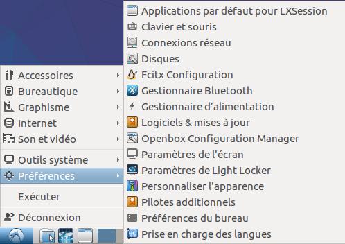 Lubuntu 13 menu préférences.png