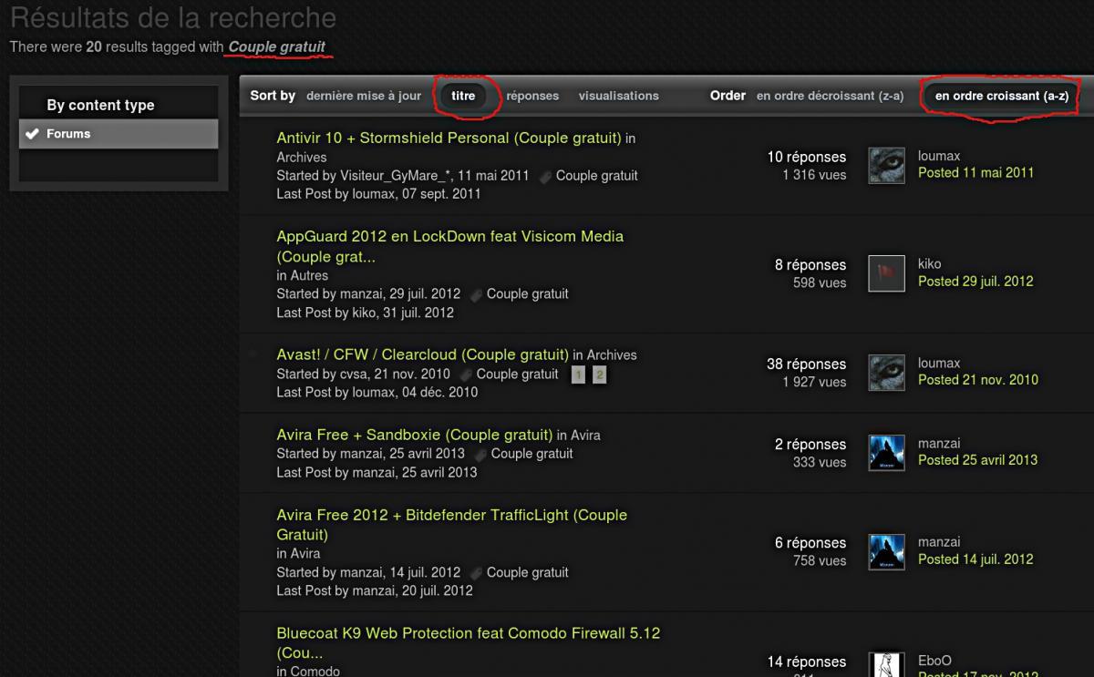 """recherche avec le tag """"Couple gratuit"""" par titre et liste alpha.jpg"""
