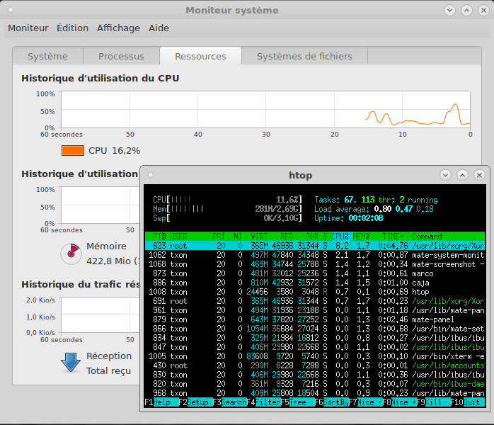 Debian 9 mon et htop II démarrage s.png