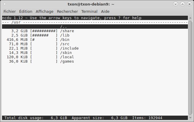Debian 9 ncdu racine usr.png